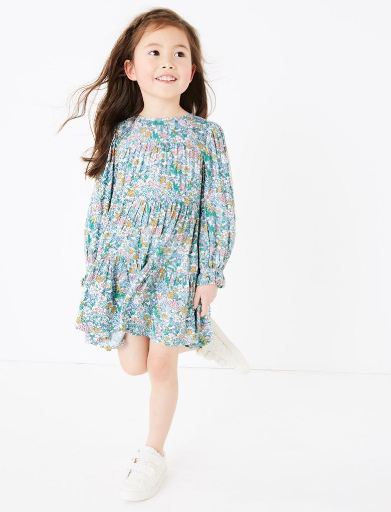 Kız Çocuk Yeşil Çiçek Desenli Uzun Kollu T-Shirt