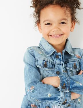 Kız Çocuk Mavi Çiçek İşlemeli Denim Ceket
