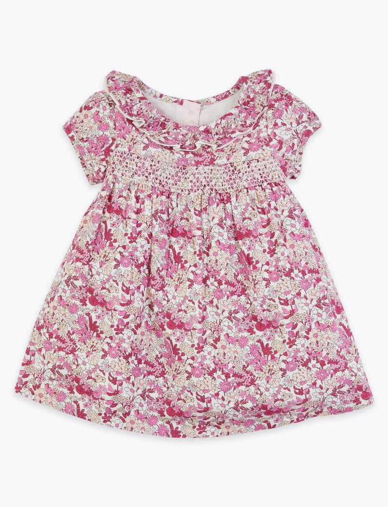 Bebek Pembe Çiçek Desenli Elbise