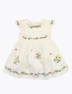 Bebek Bej Çiçek İşlemeli Elbise