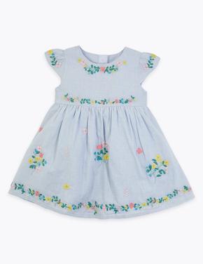 Bebek Mavi Çiçek İşlemeli Elbise