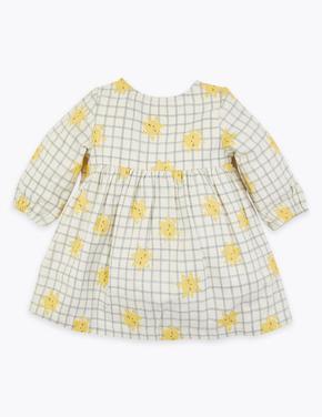 Bebek Bej Güneş Desenli Uzun Kollu Elbise