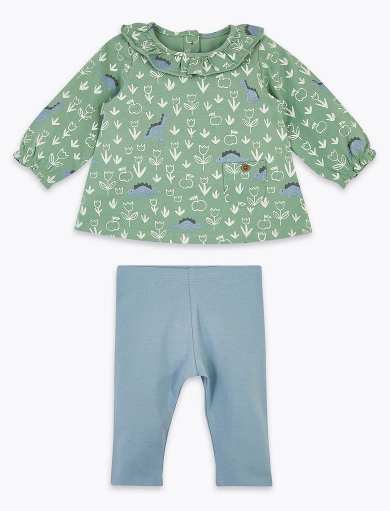 Bebek Yeşil 2'li Dinozor Desenli Üst ve Alt Takımı