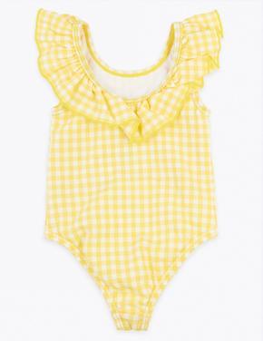 Bebek Sarı Fırfırlı Ekoseli Mayo