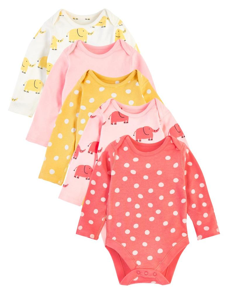 Bebek Pembe 5'li Organik Pamuklu Desenli Body Seti