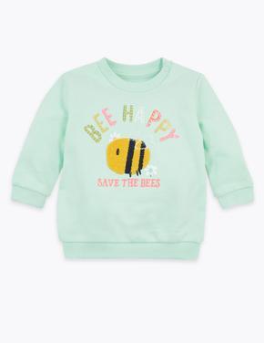 Bebek Yeşil İşlemeli Sloganlı Sweatshirt