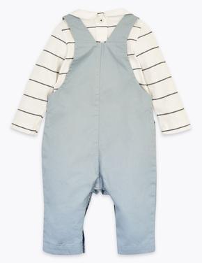 Bebek Mavi 2'li İşlemeli Salopet ve Body Takımı