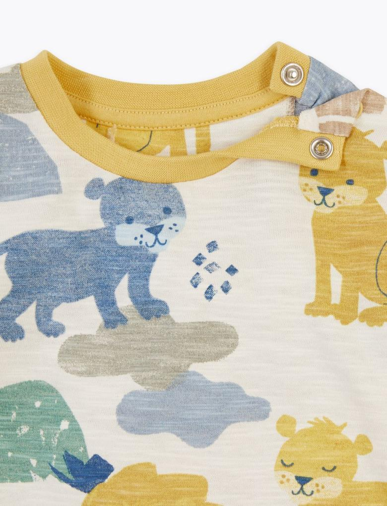 Bebek Bej Uzun Kollu Desenli T-Shirt