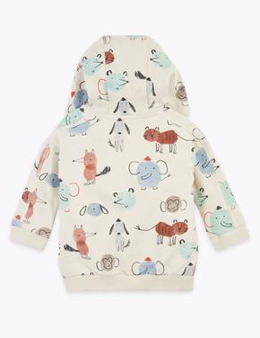 Bebek Bej Desenli Kapüşonlu Sweatshirt