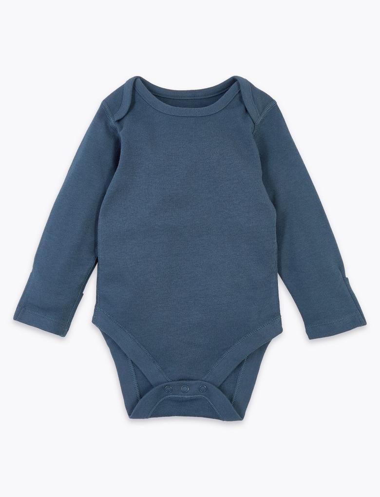 Bebek Mavi 5'li Organik Pamuklu Desenli Body Seti