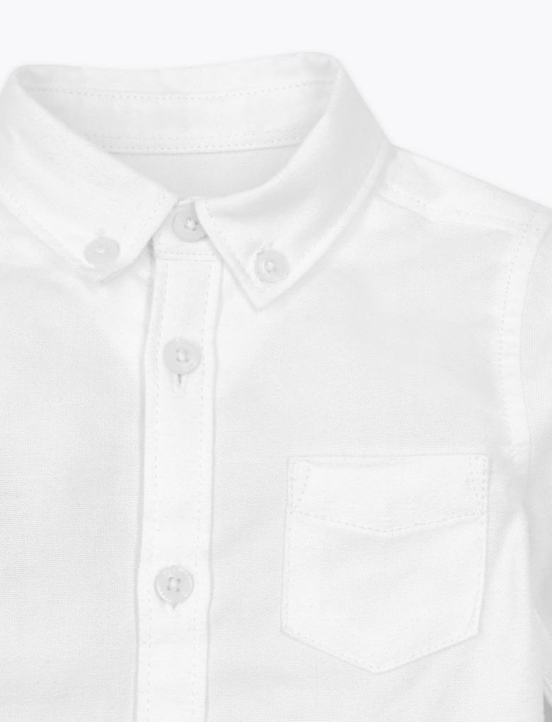 Bebek Beyaz Pamuklu Uzun Kollu Oxford Gömlek