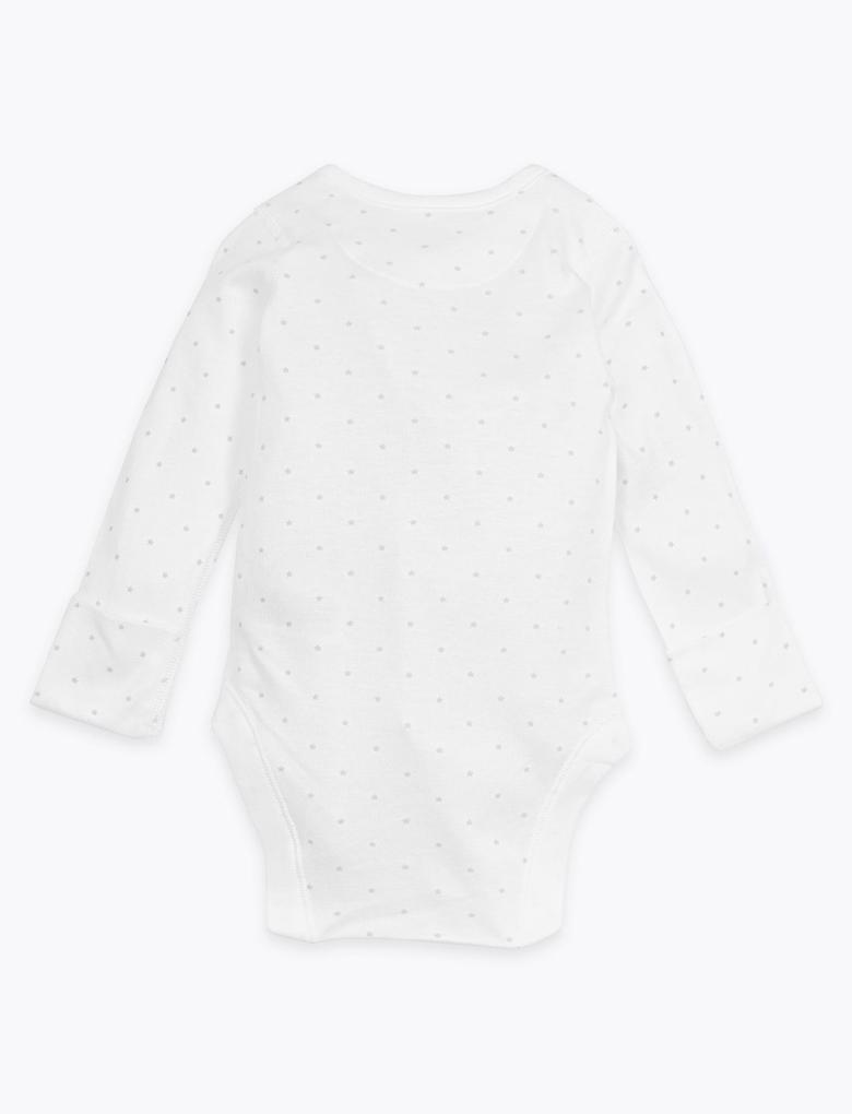 Bebek Beyaz Organik Pamuklu Yıldız Desenli Body