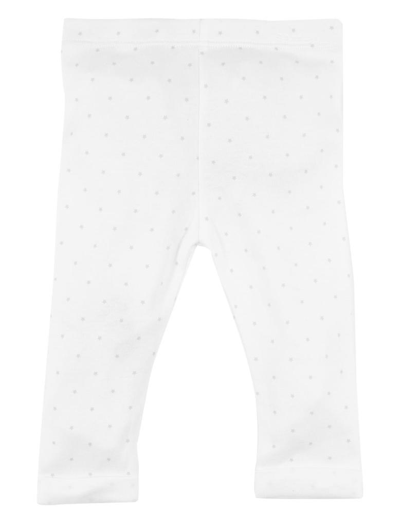 Bebek Beyaz Organik Pamuklu Yıldız Desenli Tayt