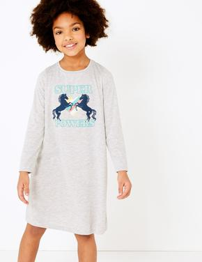 Çocuk Gri 2'li Unicorn ve Puantiye Desenli Gecelik Seti