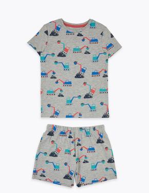 Çocuk Lacivert Desenli Şortlu Pijama Takımı