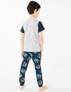 Çocuk Gri Minecraft™ Kısa Kollu Pijama Takımı