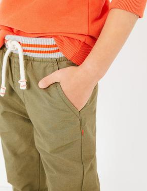 Erkek Çocuk Yeşil Pamuklu Bağcıklı Pantolon