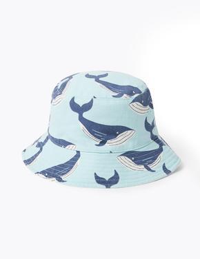 Çocuk Mavi 2'li Balina Desenli Şapka Seti
