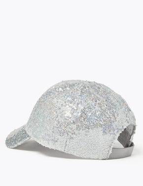 Çocuk Gümüş Pullu Beyzbol Şapkası