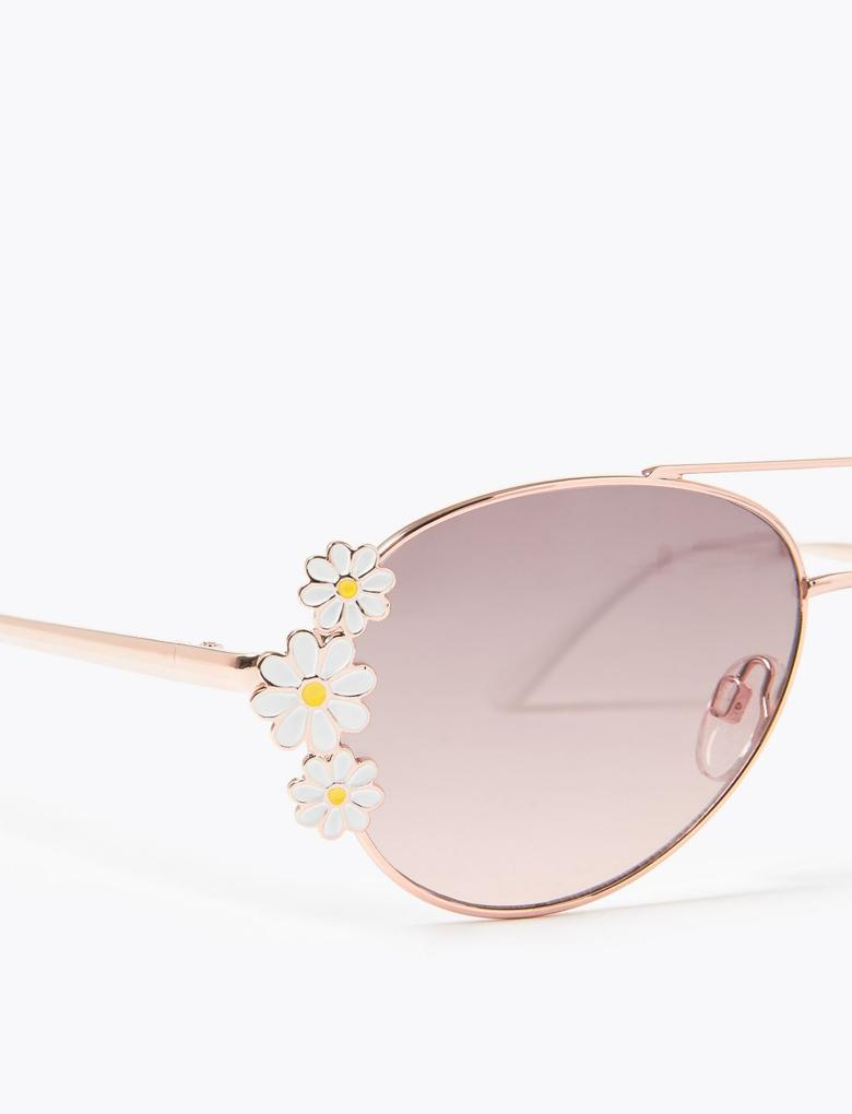 Çocuk Beyaz Papatya İşlemeli Aviator Güneş Gözlüğü