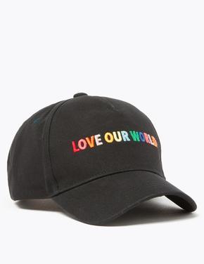 Çocuk Siyah Sloganlı Beyzbol Şapkası