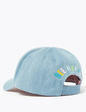 Çocuk Mavi Arı İşlemeli Beyzbol Şapkası