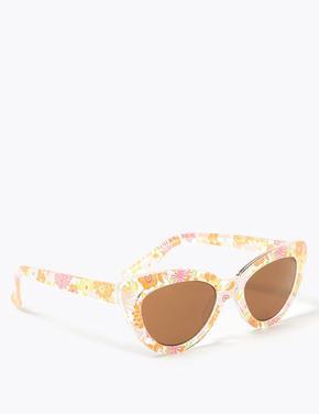 Çocuk Multi Renk Çiçek Desenli Kedi Gözü Güneş Gözlüğü