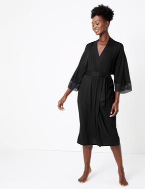 Kadın Siyah Sumptuously Soft™ Dantelli Sabahlık
