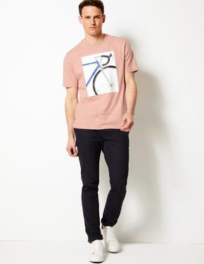 Pembe Saf Pamuklu Desenli Sıfır Yaka T-Shirt