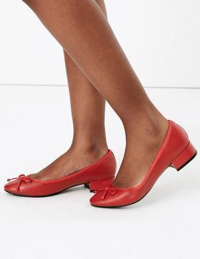 Kadın Kırmızı Yuvarlak Burunlu Deri Babet Ayakkabı