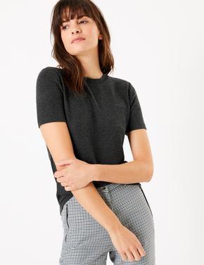 Kadın Gri Yuvarlak Yakalı Straight Fit T-Shirt