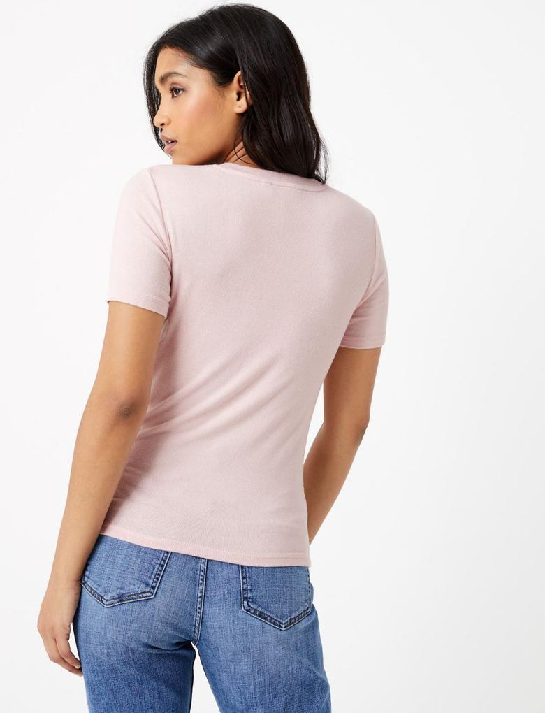 Kadın Pembe Yuvarlak Yakalı Straight Fit T-Shirt