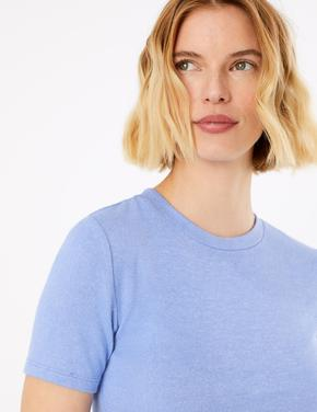 Kadın Mor Yuvarlak Yakalı Straight Fit T-Shirt