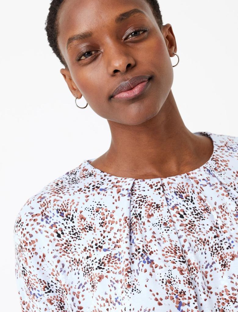 Kadın Mavi Desenli Kısa Kollu Bluz