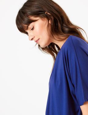 Kadın Mavi Yuvarlak Yaka Kısa Kollu Bluz