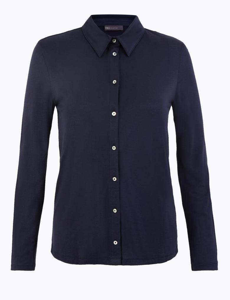 Kadın Lacivert Uzun Kollu Regular Fit Gömlek
