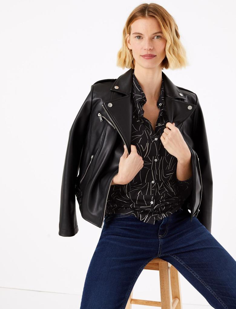 Kadın Siyah Desenli Regular Fit Gömlek
