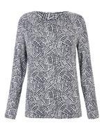 Kadın Lacivert Desenli Uzun Kollu T-Shirt