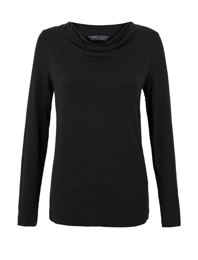 Kadın Siyah Uzun Kollu Regular Fit T-Shirt