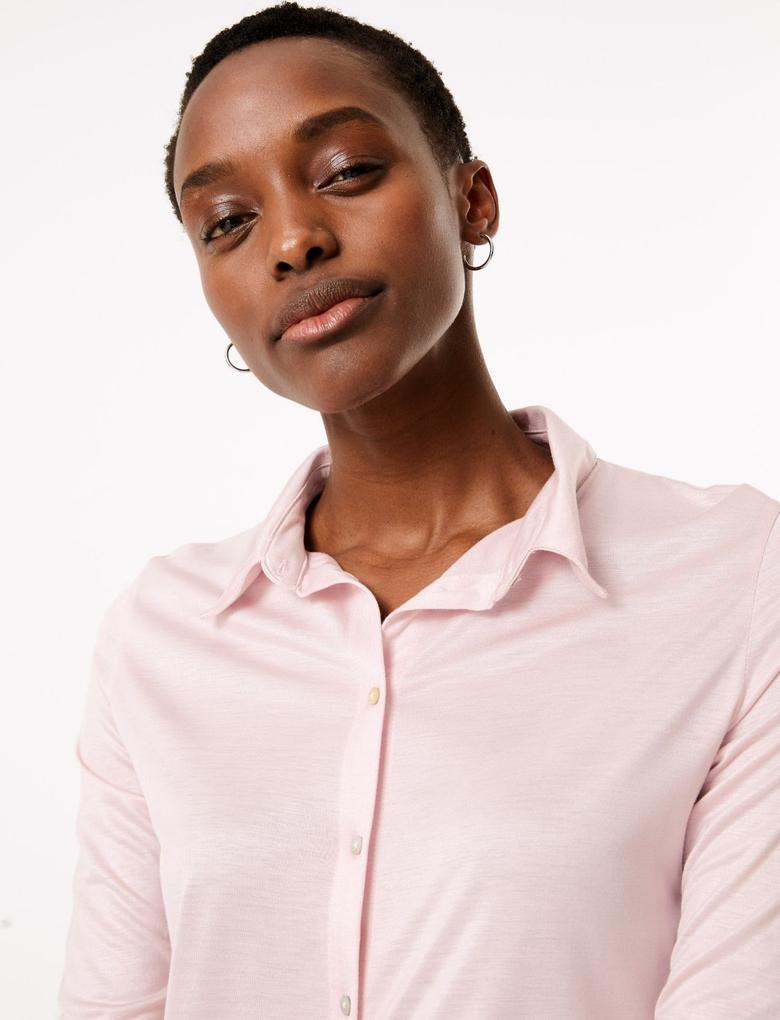 Kadın Pembe Uzun Kollu Regular Fit Gömlek