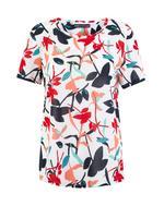 Kadın Beyaz Çiçek Desenli Relaxed Fit T-Shirt