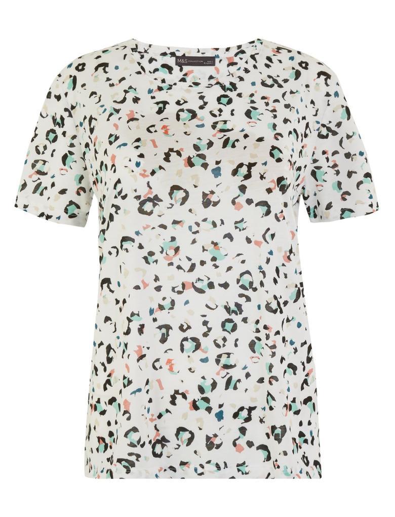 Kadın Beyaz Desenli Relaxed Fit T-Shirt