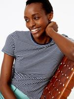 Kadın Lacivert Çizgili Fitted T-Shirt
