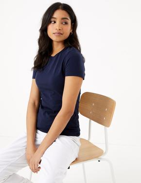 Kadın Lacivert Kısa Kollu Fitted T-Shirt