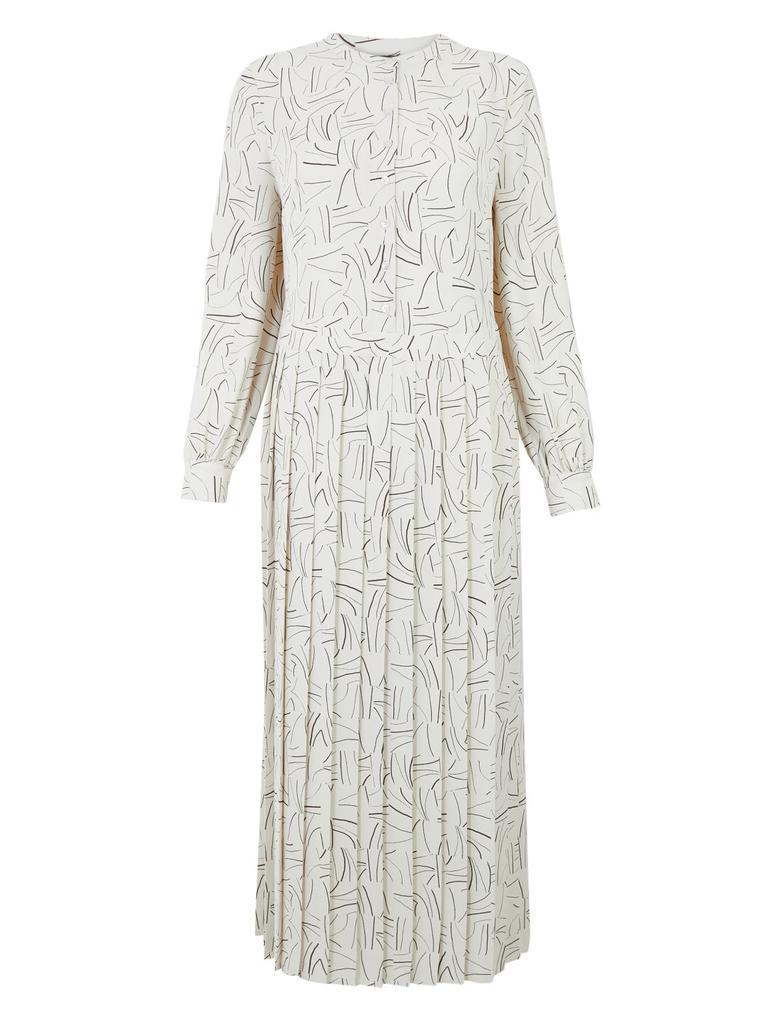Kadın Krem Pileli Relaxed Midi Elbise