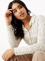 Kadın Bej Desenli Regular Fit Gömlek