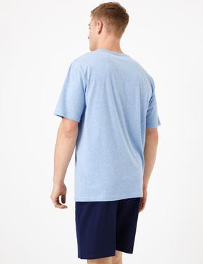 Erkek Mavi Saf Pamuklu Pijama Takımı
