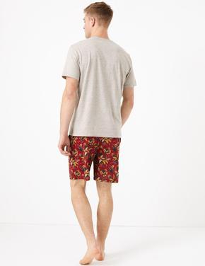 Erkek Kırmızı Saf Pamuklu Desenli Pijama Takımı
