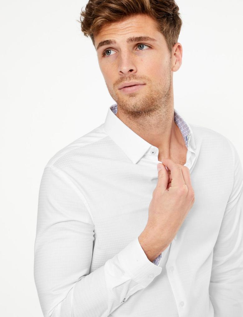 Erkek Beyaz Dokulu Slim Fit Gömlek