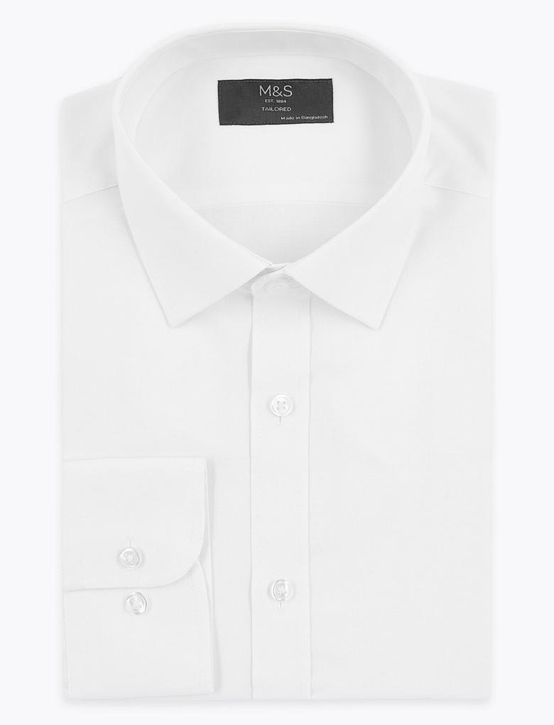 Erkek Beyaz Dokulu Tailored Fit Gömlek